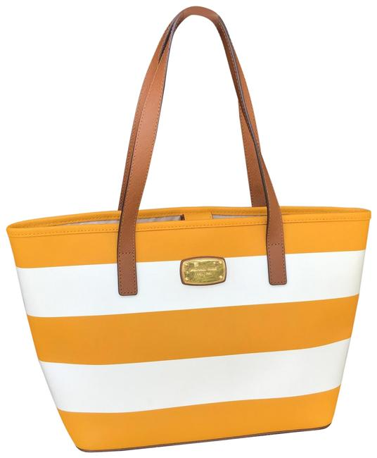 Item - Jet Set Small Yellow and White Saffiano Leather Tote