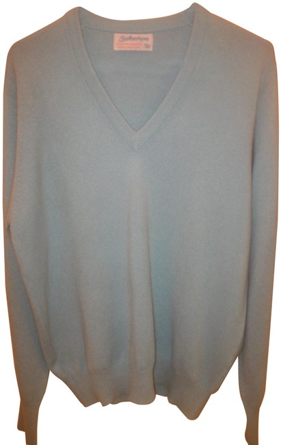Item - L Men's Cashmere V-neck Light Blue Sweater