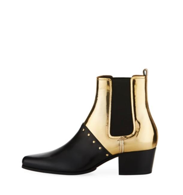 Item - Gold Studded Metallic Leather Ankle Boots/Booties Size EU 36 (Approx. US 6) Regular (M, B)
