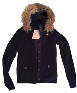 Abercrombie & Fitch Faux Fur Button Polyester Navy blue Jacket