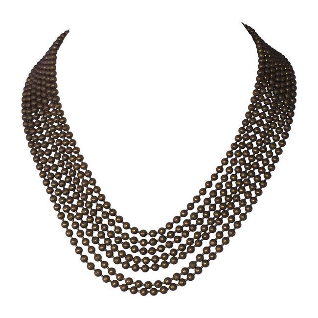 Item - Brown Art Deco Coro Brass Bead Multi Strand Bib Necklace