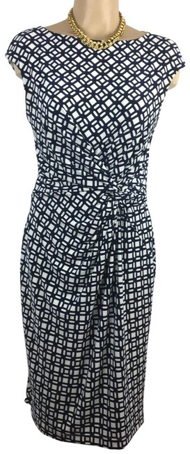Item - Blue & White Print Mid-length Work/Office Dress Size 8 (M)