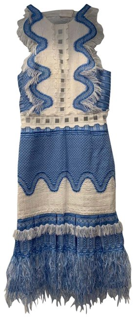 Item - Light Blue and White Fitted Bodice with Feather Details Mid-length Cocktail Dress Size 0 (XS)