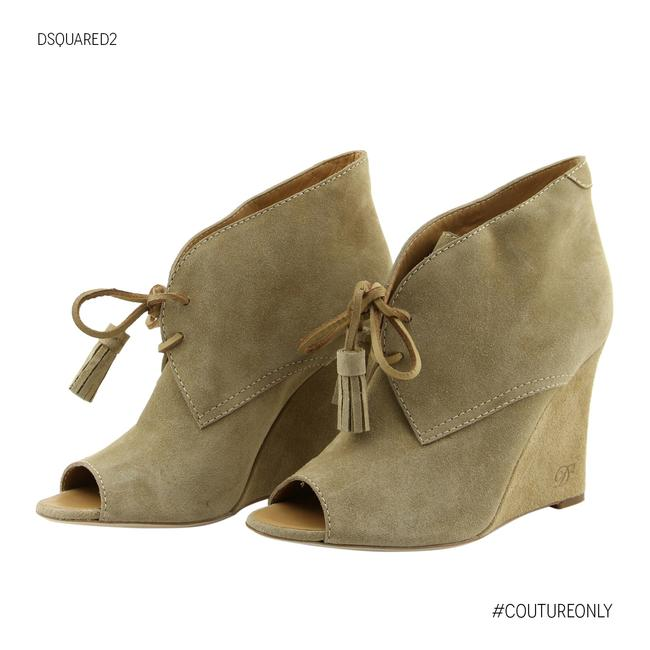 Item - Beige New Suede Leather Peep Toe Wedge Heel Lace-up Boots/Booties Size US 7 Regular (M, B)