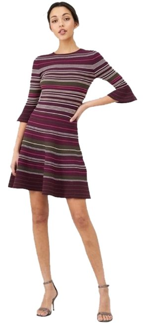 Item - Khaki Tayiny Striped Ruffle Cuff In - Small Short Casual Dress Size 4 (S)