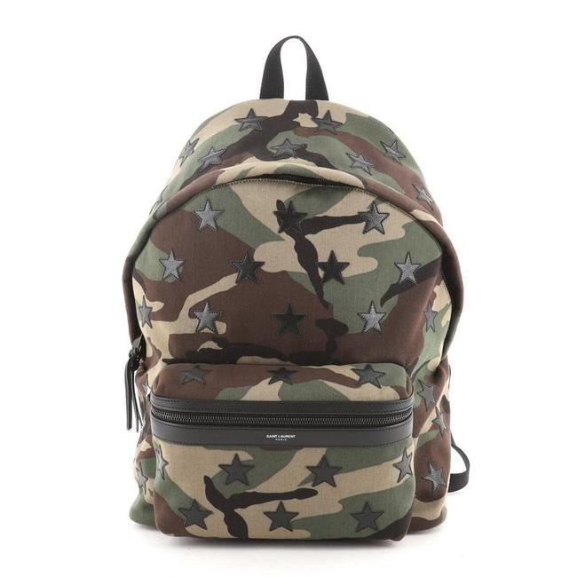 Item - City With Applique Medium Green Print Canvas Backpack