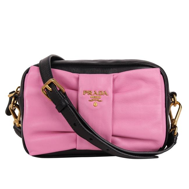 Item - Clutch Bow 8732 Black Pink Lambskin Leather Cross Body Bag