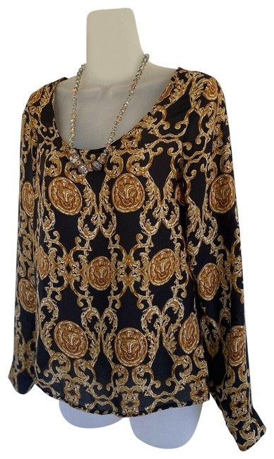 River Island Gold and Black Lion Emblem ( Missing Tag) Womens Barroco Blouse Size 4 (S) River Island Gold and Black Lion Emblem ( Missing Tag) Womens Barroco Blouse Size 4 (S) Image 1