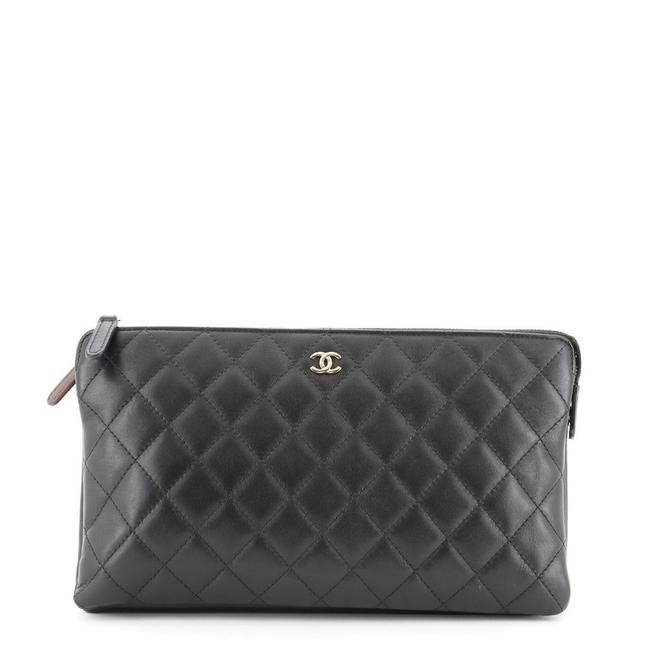 Chanel Classic Zipped Pouch Quilted Lambskin Medium Black Leather Clutch Chanel Classic Zipped Pouch Quilted Lambskin Medium Black Leather Clutch Image 1