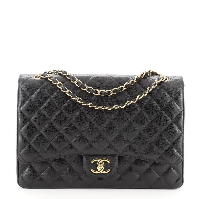 Chanel Classic Flap Classic Double Quilted Caviar Maxi Black Leather Shoulder Bag Chanel Classic Flap Classic Double Quilted Caviar Maxi Black Leather Shoulder Bag Image 1