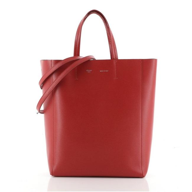 Item - Vertical Cabas Grained Calfskin Small Red Leather Tote