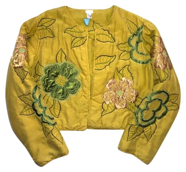 Item - Mustard Yellow Silk Embroidered Large Jacket Size 12 (L)