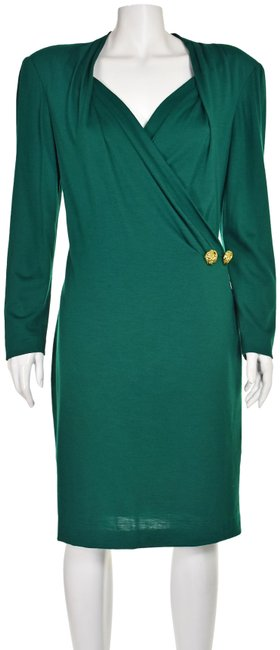 Item - Jade Green Jersey Vintage Wool Mid-length Cocktail Dress Size 8 (M)