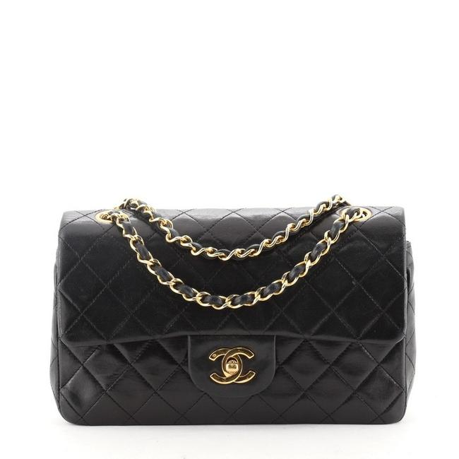 Chanel Classic Flap Vintage Classic Double Quilted Lambskin Small Black Leather Shoulder Bag Chanel Classic Flap Vintage Classic Double Quilted Lambskin Small Black Leather Shoulder Bag Image 1