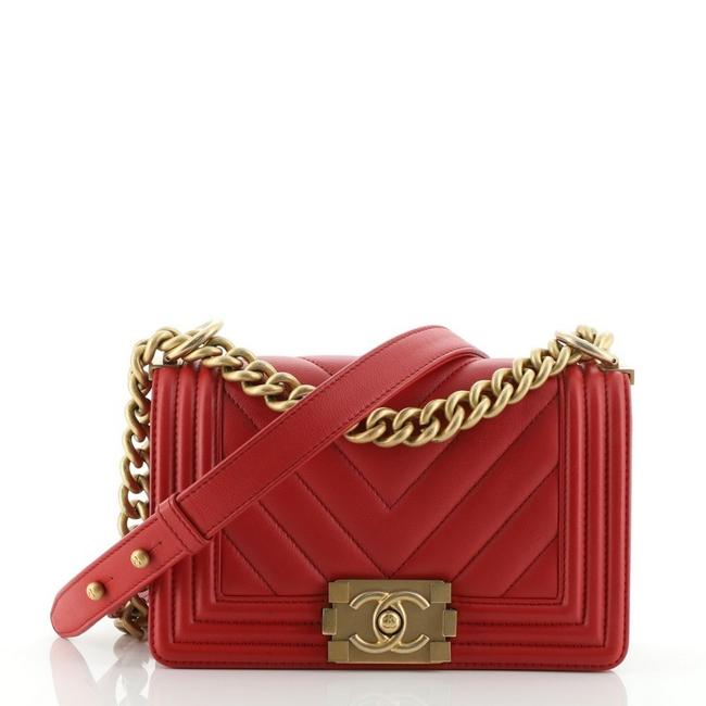 Chanel Classic Flap Boy Chevron Calfskin Small Red Leather Shoulder Bag Chanel Classic Flap Boy Chevron Calfskin Small Red Leather Shoulder Bag Image 1