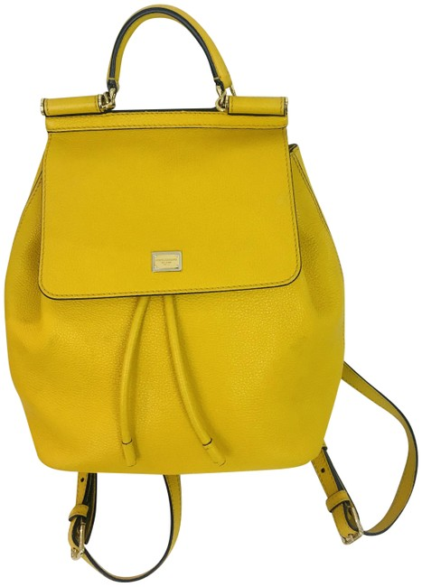 Item - Calfskin Mini Miss Sicily Yellow Leather Backpack