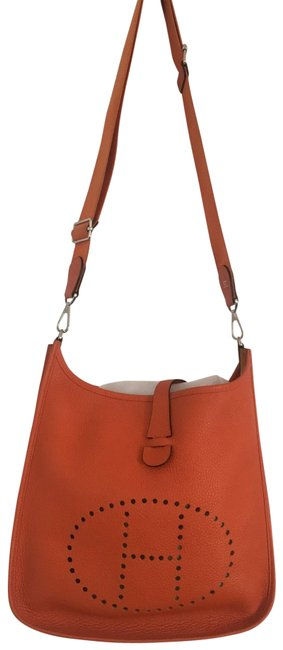 Item - Evelyne Taurillon Clemence Pm Orange Leather Cross Body Bag