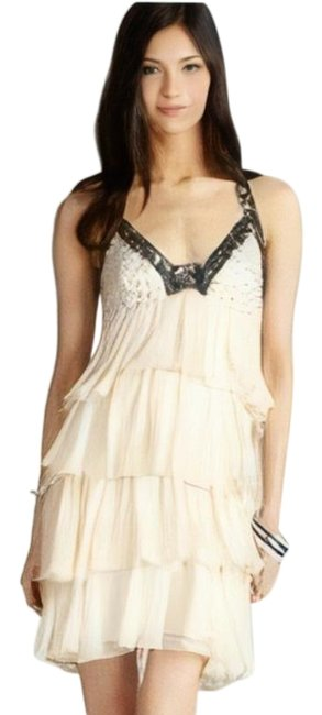 Item - Cream Black Great Expectations Fit and Flare Tiered Halter Short Cocktail Dress Size 2 (XS)
