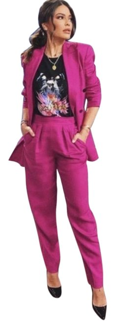 Item - Pink Pleated Linen In Pop Fuchsia Pants Size 4 (S, 27)