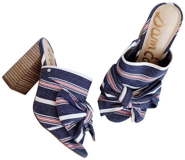 Item - Blue Jean Denim Chambray White Red Multi Nwot Yumi Striped Wrap Bow Open Toe Mules/Slides Size US 6.5 Regular (M, B)