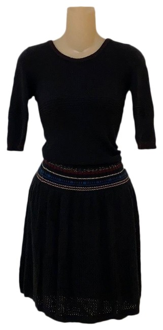 Item - Black Sweater Mid-length Short Casual Dress Size 4 (S)