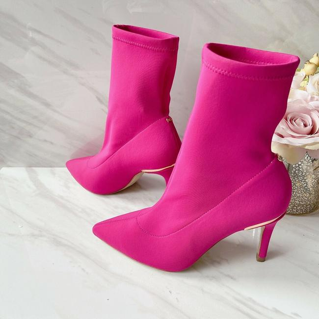 Item - Pink Elzbet 2 Pointed Toe Sock Ankle Fuschia Satin Boots/Booties Size US 6 Regular (M, B)