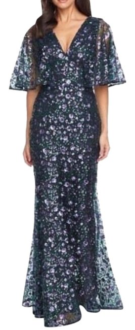 Item - Purple Green Laine Sequin Lace Cape Gown Small Long Formal Dress Size 4 (S)