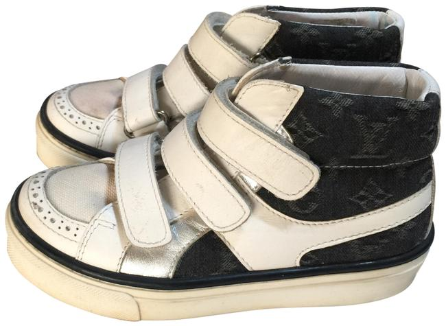 Item - White Denim Italy Monogrammed Hi-cut Sneakers Size EU 34 (Approx. US 4) Regular (M, B)