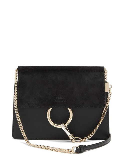 Item - Faye Mf Suede Small Black Leather Cross Body Bag