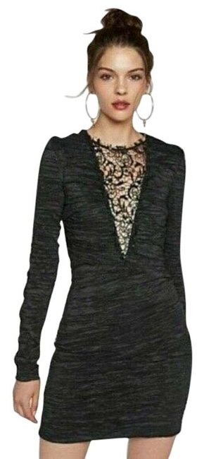 Item - Black Embellished Deep V-neck Ruched Bodycon Sequin Beaded Lace Short Cocktail Dress Size 2 (XS)