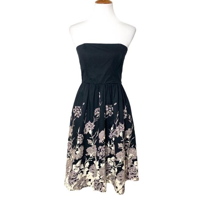 Item - Black Cream Floral Strapless Midi Mid-length Work/Office Dress Size 8 (M)