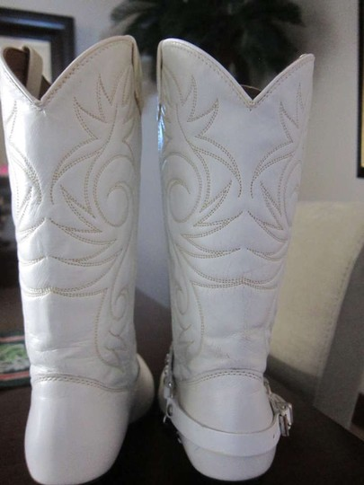 Laredo Western Wear Bling Leather White Boots