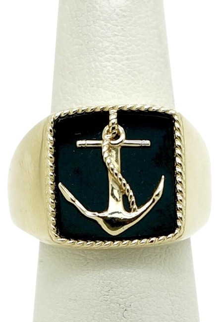 EFFY Yellow Gold Men's 14k and Onyx Anchor Ring EFFY Yellow Gold Men's 14k and Onyx Anchor Ring Image 1
