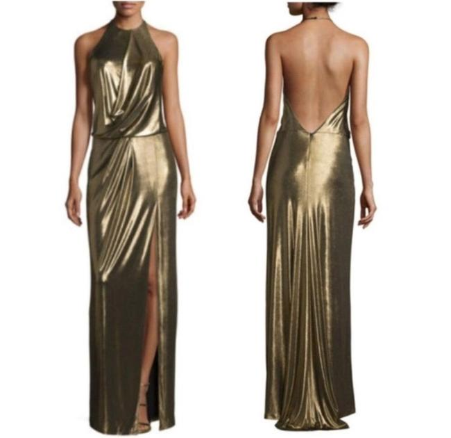 Item - Gold Metallic Maxi Long Formal Dress Size 10 (M)