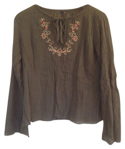 Floral Embroidered Linen Top Green