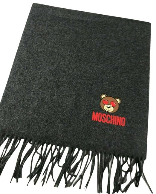 Item - Gray Couture Jeremy Scott Teddy Bear Hearts In The Eyes Wool Scarf/Wrap