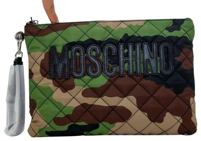 Item - Aw17 Quilted Camouflage Green Brown Nylon Clutch