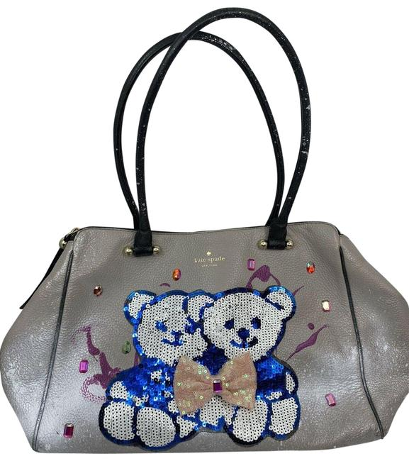 Item - Graffiti Customized with Bear Applique And Silver Leather Shoulder Bag
