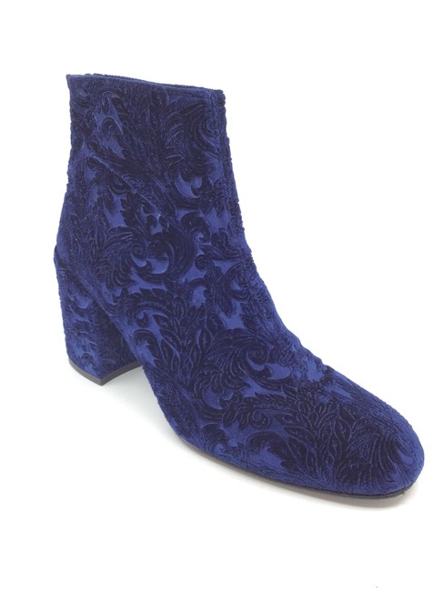 Item - Navy/ Royal Navy/ Flocked Velvet Bacari Ankle Boots/Booties Size US 9 Regular (M, B)