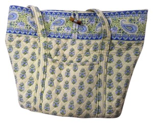 Vera Bradley Elephant Reversible Tote in Green/blue