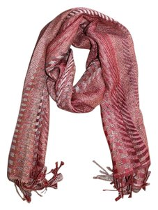 Collection Eighteen Long Red Patterned Scarf