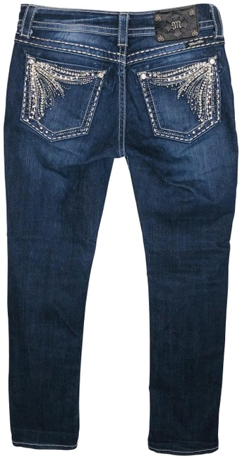 Item - Blue Dark Rinse Sequined & Crystal Embellished Buckle Exclusive Straight Leg Jeans Size 29 (6, M)