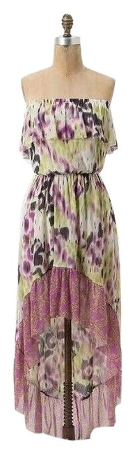 Item - Multicolor Ikat Ruffle High-low Bandeau Mid-length Short Casual Dress Size 4 (S)