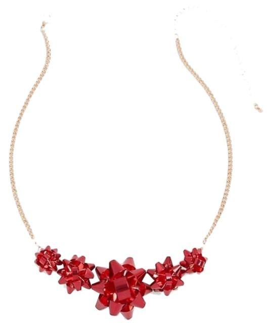 Item - Red Gold Chistmas Holiday Present Bow Necklace