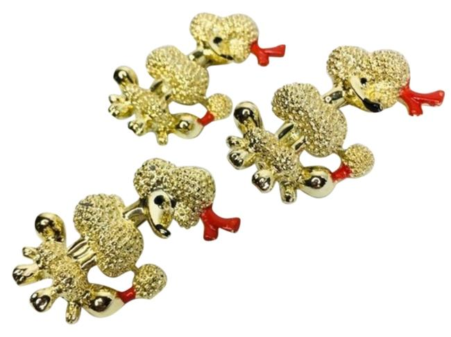 Vintage Gold Black Ornate Poodle Brooch Pin Set Charm Vintage Gold Black Ornate Poodle Brooch Pin Set Charm Image 1