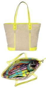 Stella & Dot Canvas Saffiano Neon Zipper Tote in Canvas/neon yellow
