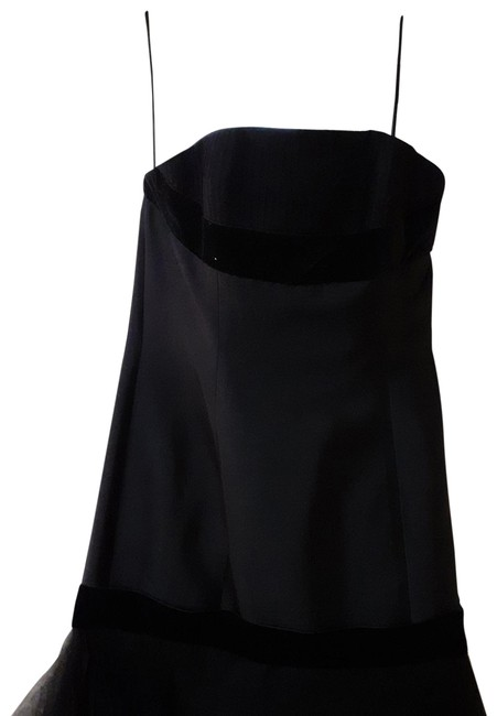 Item - Black Silk with Velvet Accents Mid-length Cocktail Dress Size 8 (M)