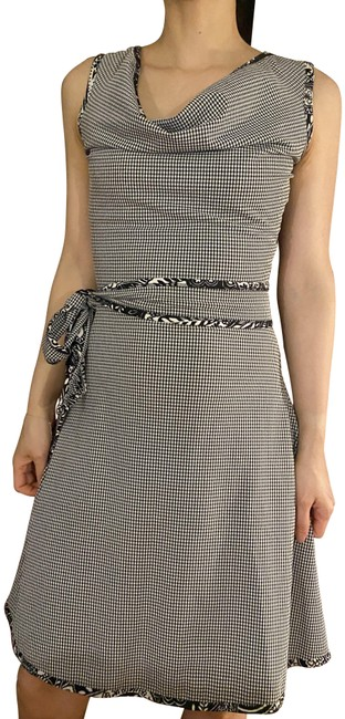 Item - Gingham Classic Audrey Black White Mid-length Short Casual Dress Size 0 (XS)