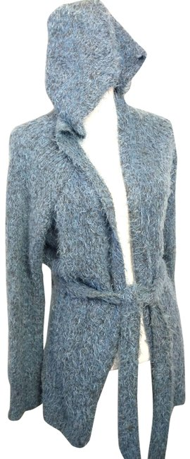 Item - Gray Sleeping On Snow Hooded Open Front Long Sleeve Cardigans Poncho/Cape Size 8 (M)