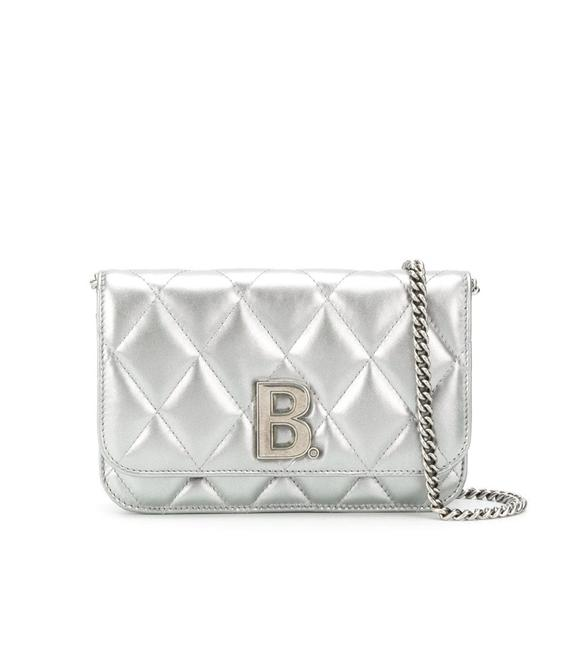 Item - Wallet on Chain B Quilted Metallic Silver Leather Cross Body Bag